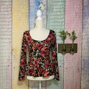 Lily Rose Floral Long Sleeve Peplum Jersey Top